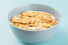 Healthy breakfast - milk with corn flakes Stock Image