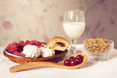 Healthy breakfast with milk and croissants. Fresh tasty berries Royalty Free Stock Photography
