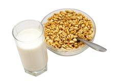 Healthy breakfast (milk with honey wheat) Stock Photography