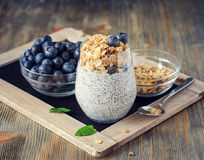 Healthy breakfast or morning snack with chia seeds pudding and b Stock Photo