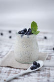 Healthy breakfast or morning snack with chia seeds vanilla puddi Stock Photos