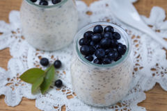 Healthy breakfast or morning snack with chia seeds vanilla puddi Stock Photo