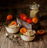 Healthy breakfast of muesli and apricot, selective focus Royalty Free Stock Photos