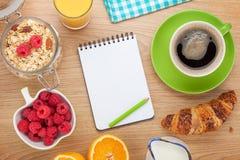 Healthy breakfast with muesli, berries, orange juice and croissa Stock Photography