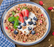 Healthy Breakfast. Muesli, berries with yogurt.  Diet concept. Royalty Free Stock Photography
