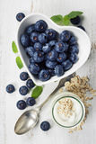 Healthy breakfast of muesli, berries with yogurt and seeds Royalty Free Stock Photo