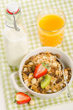 Healthy breakfast with muesli (cereal with fruits, berries, nuts Stock Photo