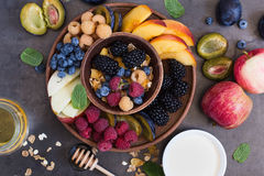Healthy breakfast muesli with fresh berries and fruits Royalty Free Stock Images