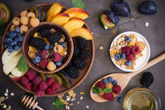 Healthy breakfast muesli with fresh berries and fruits Stock Photo