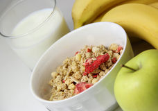 Healthy breakfast: muesli and fruits Stock Images