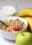 Healthy breakfast: muesli and fruits Stock Image
