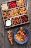 Healthy Breakfast. Muesli granola oatmeal with nuts, milk and dried fruits.  Top view. Royalty Free Stock Photography