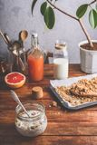 Healthy breakfast with muesli. Healthy breakfast with homemade muesli, turkish coffee and juice stock photos