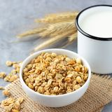 Healthy breakfast with muesli and milk.  stock photography