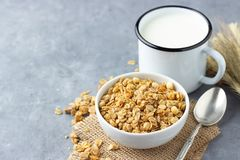 Healthy breakfast with muesli and milk.  stock images