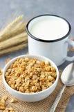 Healthy breakfast with muesli and milk.  stock image