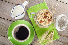 Healthy breakfast with muesli, milk and coffee cup Royalty Free Stock Photography