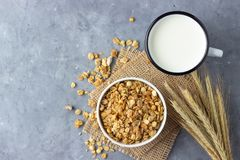 Healthy breakfast with muesli and milk. Top view with copy space stock photo