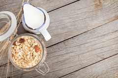 Healthy breakfast with muesli and milk Stock Photos