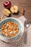 Healthy breakfast with muesli, red apple and cinnamon on rustic Stock Image