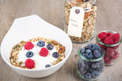 Healthy Breakfast with muesli on textured background Stock Image