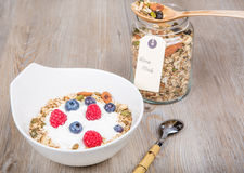 Healthy Breakfast with muesli on textured background Stock Photos