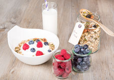 Healthy Breakfast with muesli on textured background Royalty Free Stock Photo