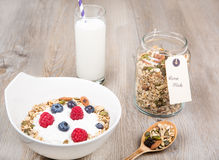 Healthy Breakfast with muesli on textured background Royalty Free Stock Image