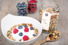 Healthy Breakfast with muesli on textured background Stock Photography