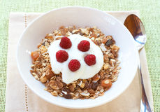 Healthy breakfast with muesli and yoghurt Stock Photo