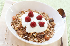 Healthy breakfast with muesli, yoghurt and berries. Healthy breakfast with muesli, raspberries and yoghurt in white bowl Royalty Free Stock Image