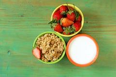 Healthy breakfast of muesli, yoghurt, chia seeds Royalty Free Stock Photography