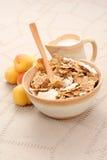 Healthy breakfast - musli and fruits stock photos
