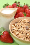 Healthy breakfast - musli and strawberries Royalty Free Stock Image