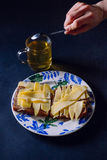 Healthy breakfast. Mystical breakfast still life of sandwiches with cheese and green tea Stock Photo