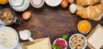 Healthy breakfast with natural dairy products Royalty Free Stock Images