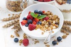 healthy breakfast with natural yogurt, muesli and berries Stock Image