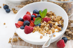Healthy breakfast with natural yogurt, muesli and berries Royalty Free Stock Photos