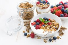 Healthy breakfast with natural yogurt, muesli and berries. On white wooden background, closeup, horizontal Stock Photos
