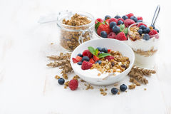 Healthy breakfast with natural yogurt, muesli and berries Royalty Free Stock Photo