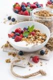 Healthy breakfast with natural yogurt, muesli and fresh berries Stock Images