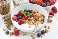 Healthy breakfast with natural yogurt, muesli and fresh berries Stock Image