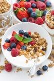 Healthy breakfast with natural yogurt, muesli and fresh berries Stock Photography