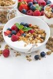 healthy breakfast with natural yogurt, muesli and fresh berries Stock Photo