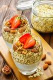 Healthy Breakfast. Natural yogurt with muesli and Stock Photo