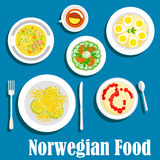 Healthy breakfast of norwegian cuisine flat icon. Wholesome dishes of norwegian breakfast icon with flat symbols of rice porridge with fruit jam, cucumber salad Stock Photo