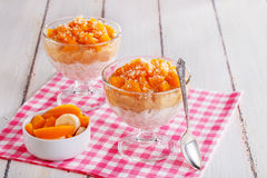 Healthy breakfast, oat cereal with fruit Stock Photo