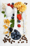 Healthy Breakfast.Oat flake, berries and coffee. Health and diet Stock Photo