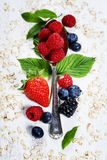 Healthy Breakfast.Oat flake, berries and coffee. Health and diet Stock Photos