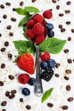 Healthy Breakfast.Oat flake, berries and coffee. Health and diet Royalty Free Stock Photography